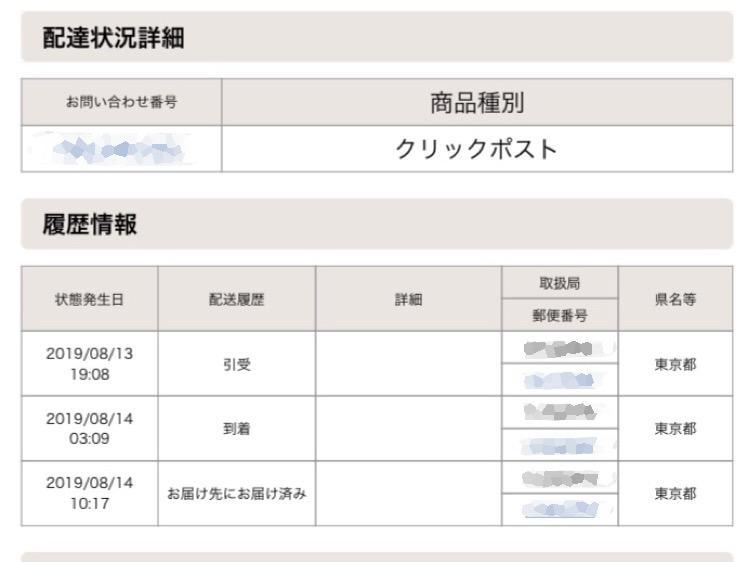 クリックポストを東京から都内までの配達日数